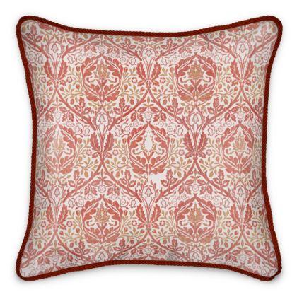 Silk Cushions - William Morris' Golden Bough Red Remix