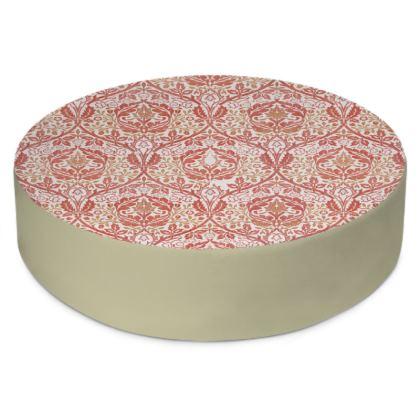 Round Floor Cushions - William Morris' Golden Bough Red Remix