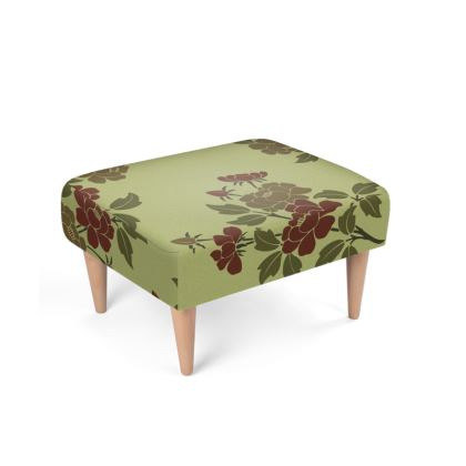 Footstool - Japanese flowers and leaves pattern Remaster