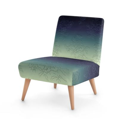 Occasional Chair - Japanese flowers and leaves pattern Engraved Remix