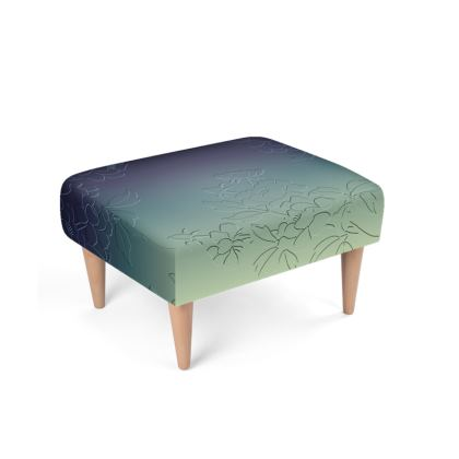 Footstool - Japanese flowers and leaves pattern Engraved Remix