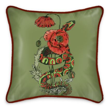 Green Motif Poppy-fields Illustrated Silk Cushion