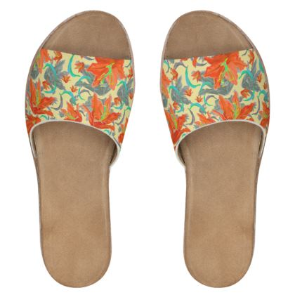Floral Womens Leather Sliders  Lily Garden  Orangery