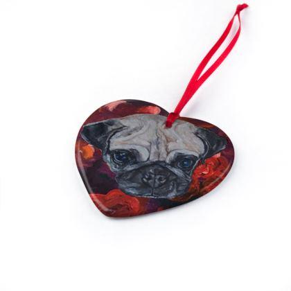 Pugly the Pug Christmas Ornaments