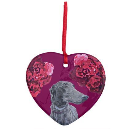 Lark the Greyhound Christmas Ornament