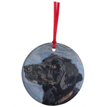 Rufus the Black Labrador Retriever Christmas Ornament