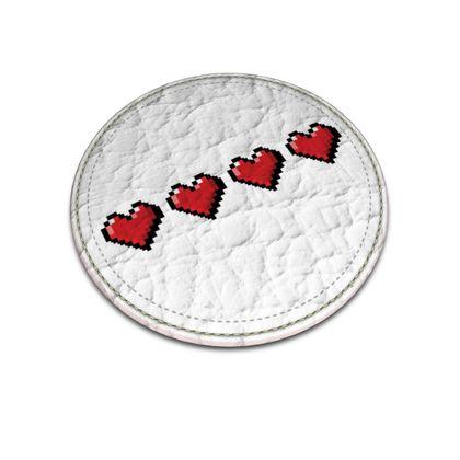 Leather Coasters - Pixel Hearts - Full Health Bar