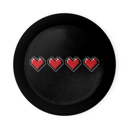Round Coaster Trays - Pixel Hearts - Full Health Bar