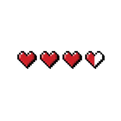 Fabric Placemats - Pixel Hearts - Damage Taken Health Bar
