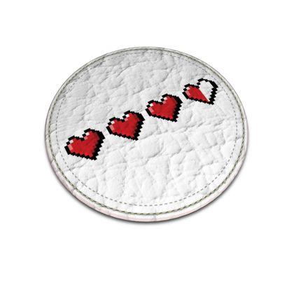 Leather Coasters - Pixel Hearts - Damage Taken Health Bar