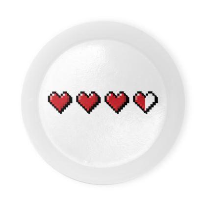Round Coaster Trays - Pixel Hearts - Damage Taken Health Bar