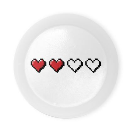 Round Coaster Trays - Pixel Hearts - Half Health Bar