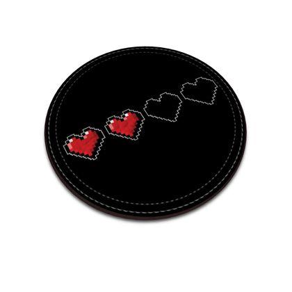 Leather Coasters - Pixel Hearts - Half Health Bar