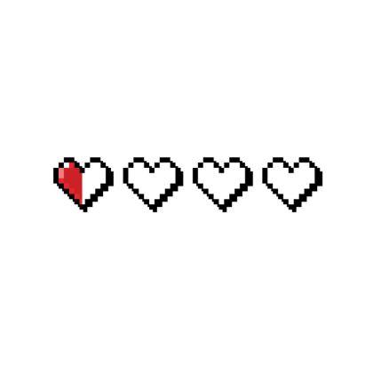 Fabric Placemats - Pixel Hearts - Near Death Danger Health Bar