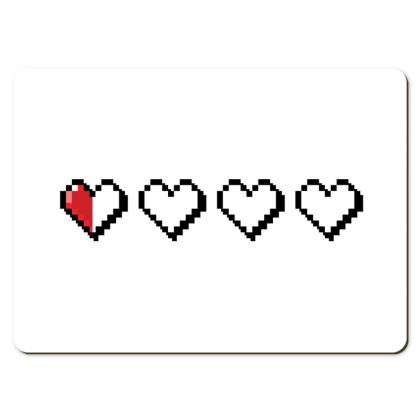 Large Placemats - Pixel Hearts - Near Death Danger Health Bar
