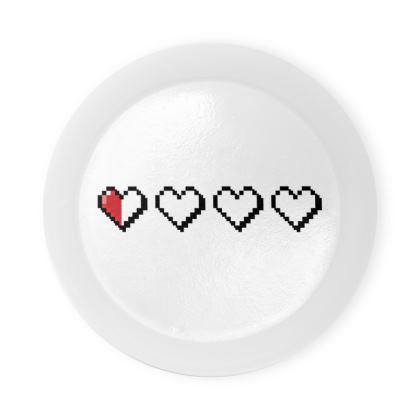 Round Coaster Trays - Pixel Hearts - Near Death Danger Health Bar