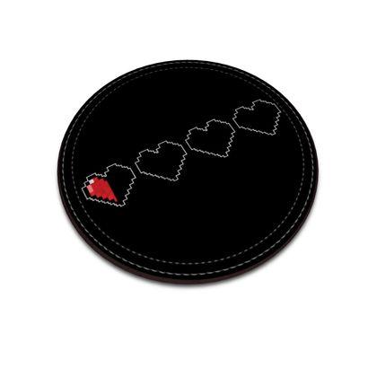 Leather Coasters - Pixel Hearts - Near Death Danger Health Bar