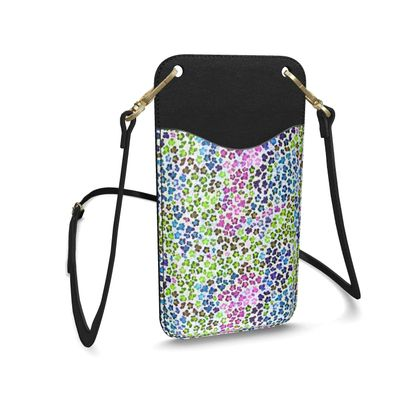 Leopard Skin Multicoloured Collection Leather Phone Case With Strap