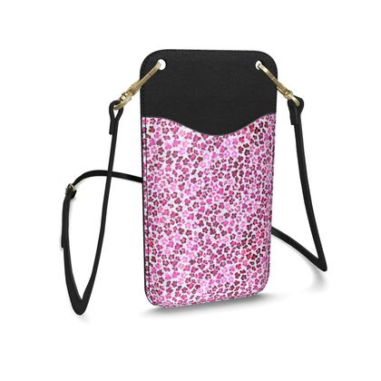 Leopard Skin in Magenta Collection Leather Phone Case With Strap
