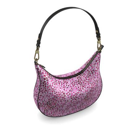 Leopard Skin in Magenta Collection Curve Hobo Bag