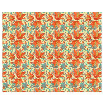 Orange, turquoise Kimono   Lily Garden  Orangery