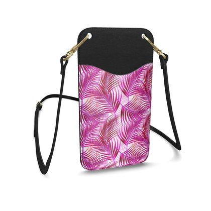 Tropical Garden Collection in Magenta Leather Phone Case With Strap