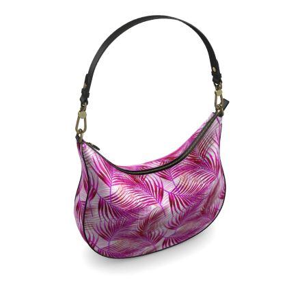 Tropical Garden Collection in Magenta Curve Hobo Bag