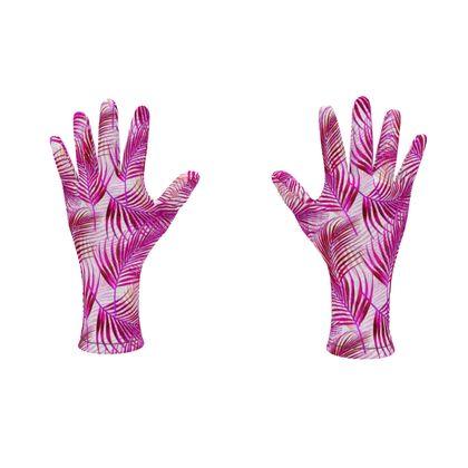 Tropical Garden Collection in Magenta Fleece Gloves