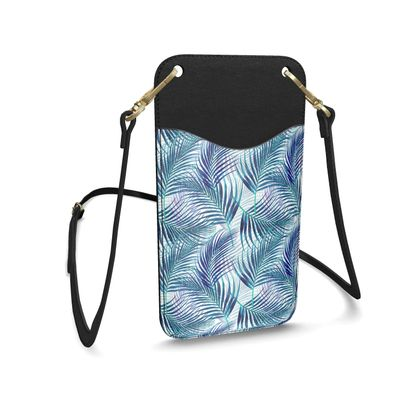 Tropical Garden in Blue Leather Phone Case With Strap