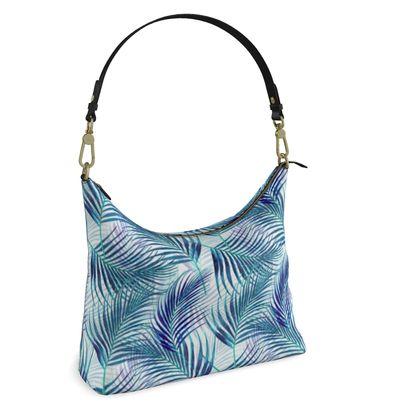 Tropical Garden in Blue Collection Square Hobo Bag