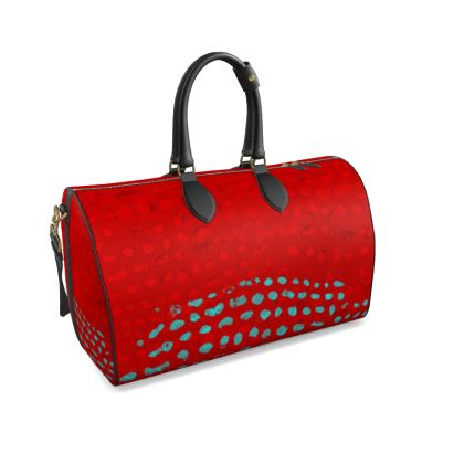 Textural Collection in red and turquoise Duffle Bag