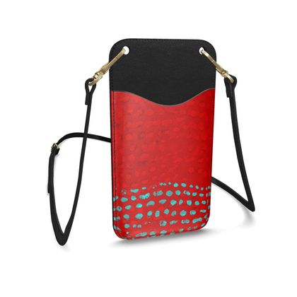 Textural Collection in red and turquoise Leather Phone Case With Strap