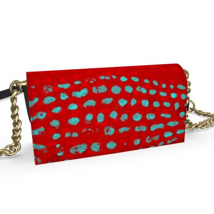 Textural Collection in red and turquoise Oana Evening Bag