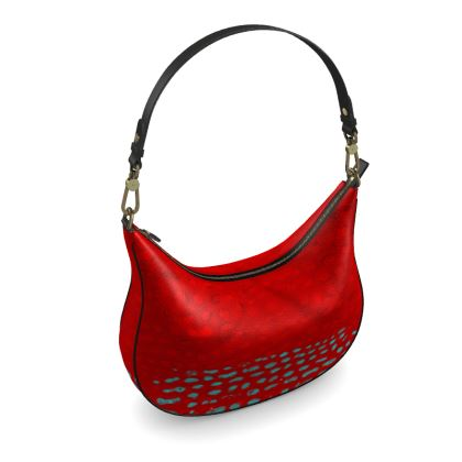 Textural Collection in red and turquoise Curve Hobo Bag