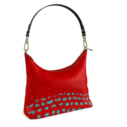 Textural Collection in red and turquoise Square Hobo Bag