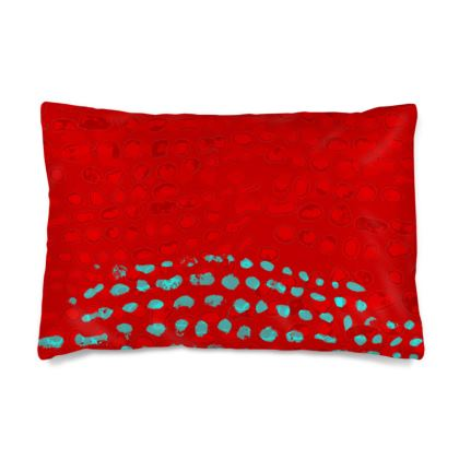 Textural Collection in red and turquoise Silk Pillow Case