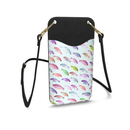 Tropical Fish Collection Leather Phone Case With Strap