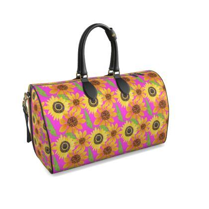 Naive Sunflowers On Fuchsia Duffle Bag