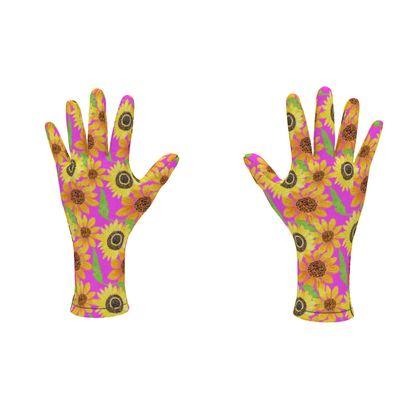 Naive Sunflowers On Fuchsia Fleece Gloves