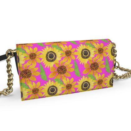 Naive Sunflowers On Fuchsia Oana Evening Bag