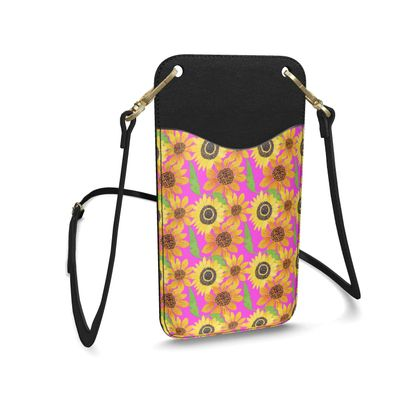 Naive Sunflowers On Fuchsia Leather Phone Case With Strap