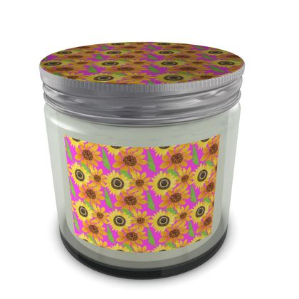 Naive Sunflowers On Fuchsia Set Candle In Jar