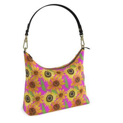 Naive Sunflowers On Fuchsia Square Hobo Bag