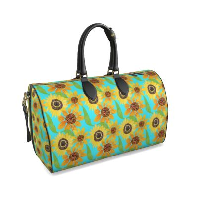 Naive Sunflowers On Turquoise Duffle Bag