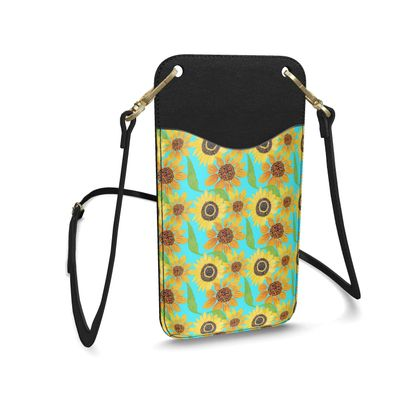 Naive Sunflowers On Turquoise  Leather Phone Case With Strap