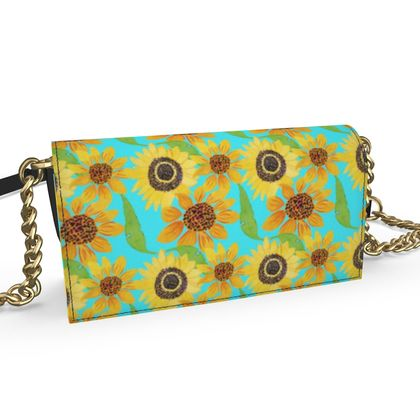 Naive Sunflowers On Turquoise Oana Evening Bag