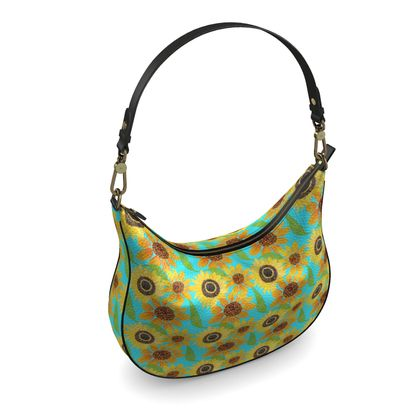 Naive Sunflowers On Turquoise Curve Hobo Bag