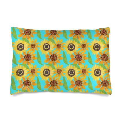 Naive Sunflowers On Turquoise Silk Pillow Case