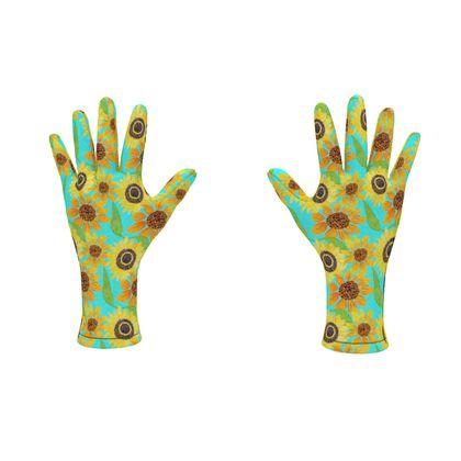 Naive Sunflowers On Turquoise Fleece Gloves