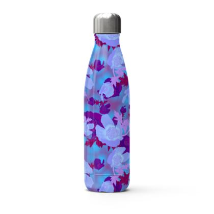 Blue Stainless Steel Thermal Bottle  Field Poppies  Midnight